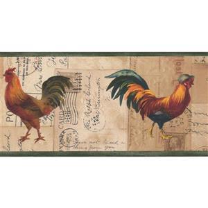 "Retro Art Wallpaper Border - 15' x 7"" - Retro Rooster on Postcard"