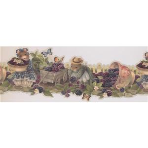 "Retro Art Wallpaper Border - 15' x 8.25"" - Mouse Offering Berries"