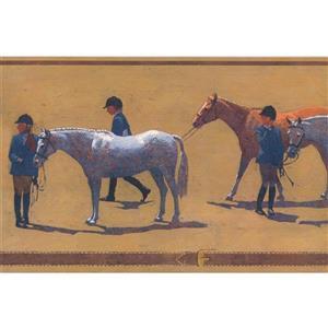 York Wallcoverings Wallpaper Border - 15-ft x 6-in - Retro Jockey with Horse -Beige