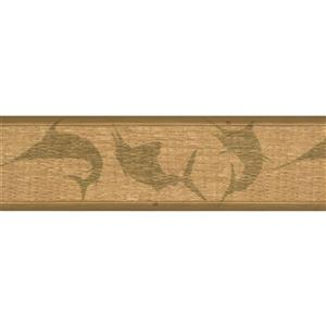 York Wallcoverings Wallpaper Border - 15-ft x 7-in - Fish Shade on Wall - Beige