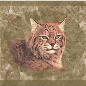 "Retro Art Wallpaper Border - 15' x 8"" - Lynx Pictures - Olive Green"