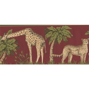 York Wallcoverings Wallpaper Border - 15-ft x 7-in - Jungle Animals - Scarlet Red