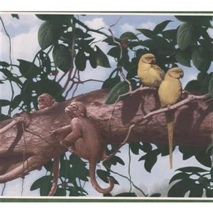 "Retro Art Wallpaper Border - 15' x 10.25"" - Animals on a Tree Branch"