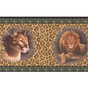 "Retro Art Wallpaper Border -15' x 7"" -Lion and Jaguar on Leopard Print"