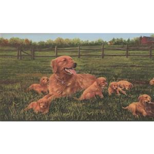 """Retro Art Extra Wide Wallpaper Border - 15' x 13.5"""" - Farm Dog Puppies"""