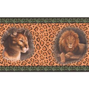 "Retro Art Wallpaper Border -15' x 7"" -Lion and Jaguar on Leopard Print"
