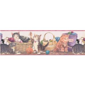 Norwall Kids Wallpaper Border - 15' x 7-in- Cats and Thread Balls
