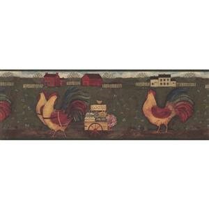 """Chesapeake Wallpaper Border - 15' x 8"""" - Roosters with Egg Carriage"""