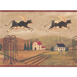 "Chesapeake Wallpaper Border - 15' x 8"" - Flying Cows in Village"
