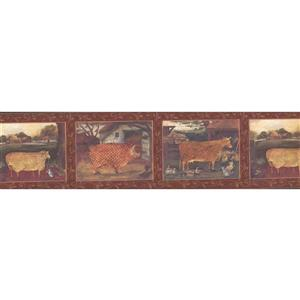 "Chesapeake Wallpaper Border - 15' x 6.5"" - Mosaic Farm Animals - Red"