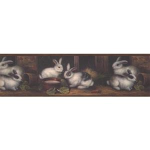 "Chesapeake Wallpaper Border -15' x 7"" -Bunnies in the Barn - Dark Brown"
