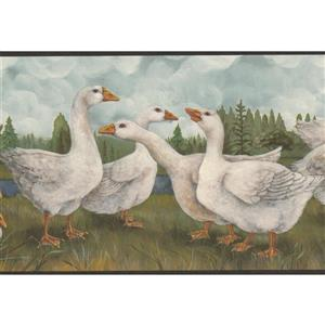 "Retro Art Wallpaper Border - 15' x 9"" - Vintage Ducks on River"