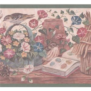 """Retro Art Wallpaper Border - 15' x 9"""" - Sparrows and Flowers"""
