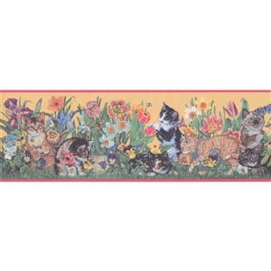 """Retro Art Wallpaper Border - 15' x 8"""" - Kittens and Flowers"""