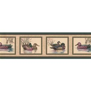 "Retro Art Wallpaper Border - 15' x 7"" -Colourful Duck Pictures - Beige"
