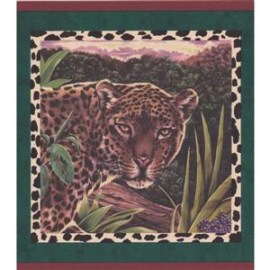 "Retro Art Wallpaper Border - 15' x 10.5"" - Zebra/Leopard - Pine Green"