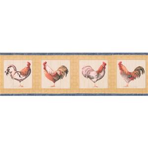 "Retro Art Wallpaper Border - 15' x 7"" - Rooster Plaque - Yellow"