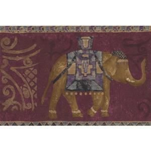 Norwall Wallpaper Border - 15' x 7.25-in- Elephants - Purple/Brown