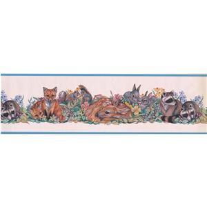 """Retro Art Wallpaper Border - 15' x 7"""" -Colourful Animals - Multicolour"""