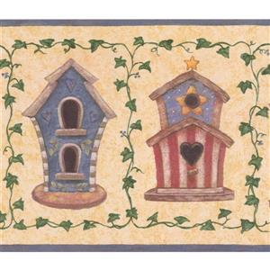 "Retro Art Wallpaper Border - 15' x 7"" - Intricate Birdhouses - Yellow"