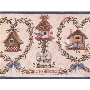 "Retro Art Wallpaper Border - 15' x 9"" - Birdhouses - Pink"
