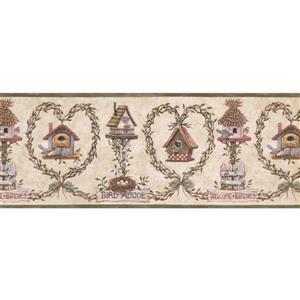 "Retro Art Wallpaper Border - 15' x 10"" - Nests and Birdhouses - Beige"