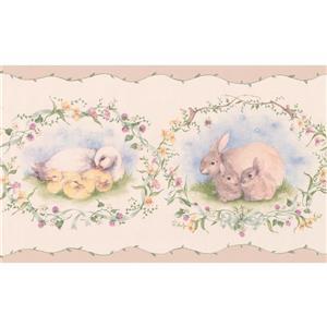 York Wallcoverings Wallpaper Border - 15-ft x 7-in - Retro Rabbit Duck Sheep -Beige