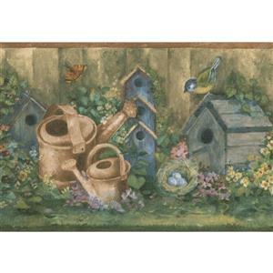 Norwall Wallpaper Border - 15' x 7-in- Retro Birdhouses - Green/Blue