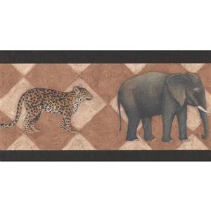 York Wallcoverings Wallpaper Border - 15-ft x 7-in - Retro Elephant Zebra Leopard