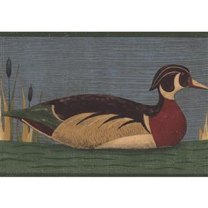 Norwall Wallpaper Border - 15' x 7-in- Colourful Swimming Duck - Blue
