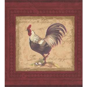 "Retro Art Wallpaper - 15' x 10.25"" - Vintage Rooster Paintings - Red"