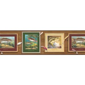 "Retro Art Wallpaper Border - 15' x 6.87"" - Bass Fish on Wooden Wall"