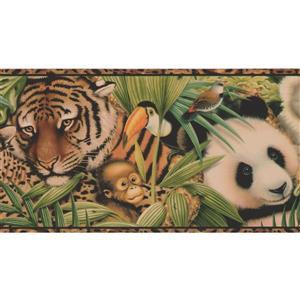 """Retro Art Wallpaper Border -15' x 7"""" - Beautiful Animals - Multicolour"""