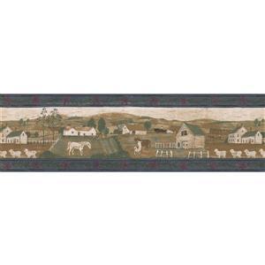 "Retro Art Wallpaper Border - 15' x 6.87"" - Village Houses and Animals"