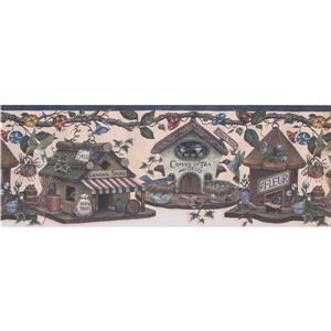 "Retro Art Wallpaper Border - 15' x 9"" - Birdhouse Village -Multicolour"