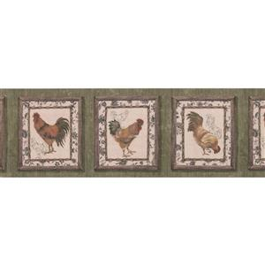 "Retro Art Wallpaper Border - 15' x 8""- Retro Rooster Paintings - Green"