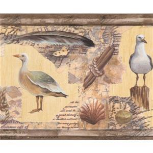 "Retro Art Wallpaper Border - 15' x 9"" - Seagulls and Seashells -Yellow"