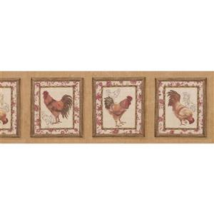 "Retro Art Wallpaper Border - 15' x 8"" - Retro Rooster Paintings -Brown"