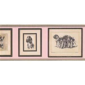 "Retro Art Wallpaper Border- 15' x 10"" -Dog Pictures - Black/White/Pink"