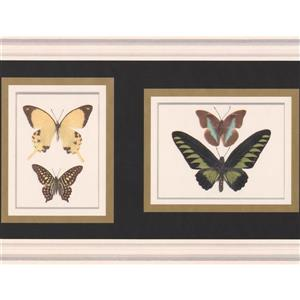 "Retro Art Wallpaper Border - 15' x 10"" - Retro Butterfly Paintings"