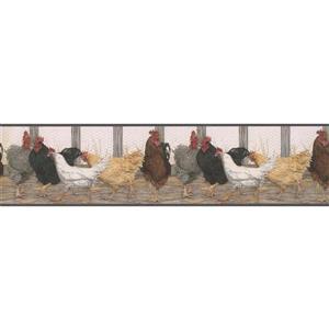 """Retro Art Wallpaper Border - 15' x 6"""" - Roosters - Multicolour"""