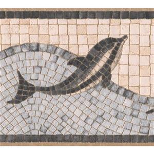 "Retro Art Wallpaper Border - 15' x 5"" - Dolphin Mosaic - Silver/Beige"