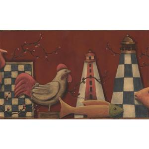 Norwall Wallpaper Border - 15' x 7-in- Roosters and Fish - Red