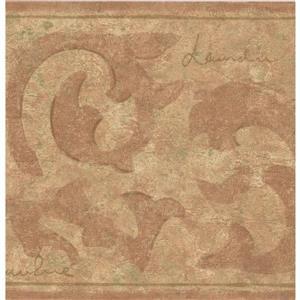 "Retro Art Wallpaper Border - 15' x 8.5"" - Abstract Damask - Red/Beige"