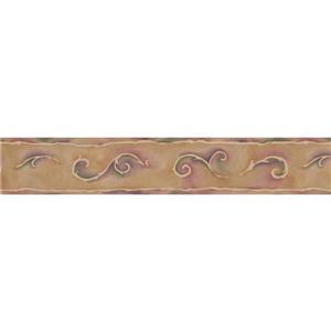 """Retro Art Wallpaper Border - 15' x 4.25"""" - Spiral - Beige/Red"""