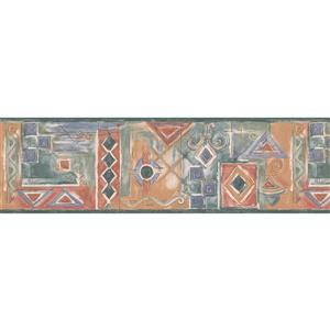"Retro Art Wallpaper Border -15' x 7"" -Geometric Design -Red/Blue/Green"