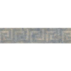 Norwall Wallpaper Border - 15' x 5.25-in- Spiral - Grey/Blue/Yellow