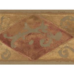 "Retro Art Wallpaper Border -15' x 6.75"" - Abstract Design - Brown"