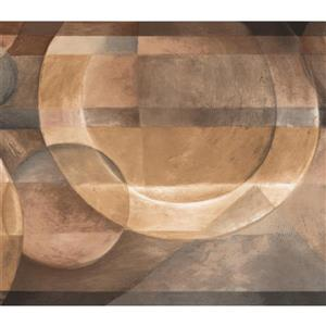 "Chesapeake Wallpaper Border - 15' x 7"" - Abstract Circles - Brown/Beige"