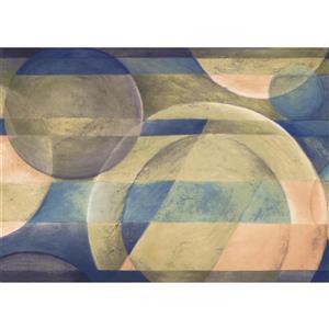 "Chesapeake Wallpaper Border - 15' x 7"" - Abstract Circles - Green/Blue"